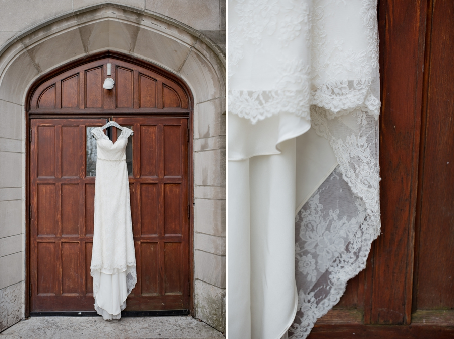 wedding gown hanging from the bluestone door