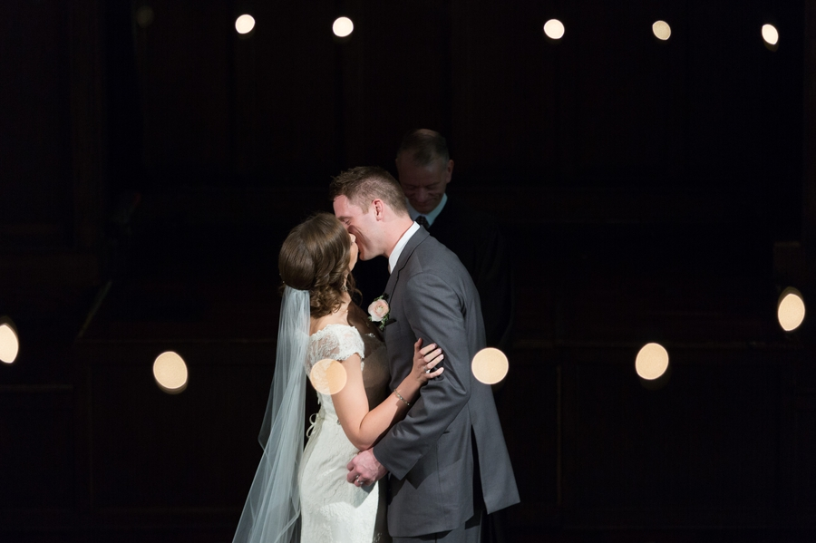 first kiss at the bluestone wedding ceremony