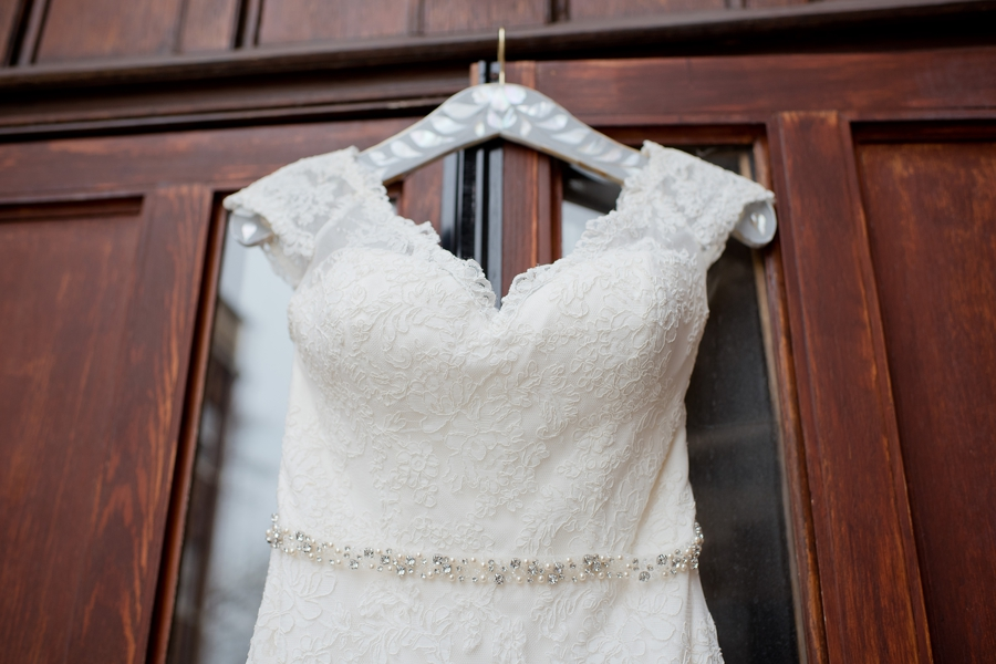 close up of wedding gown at the bluestone