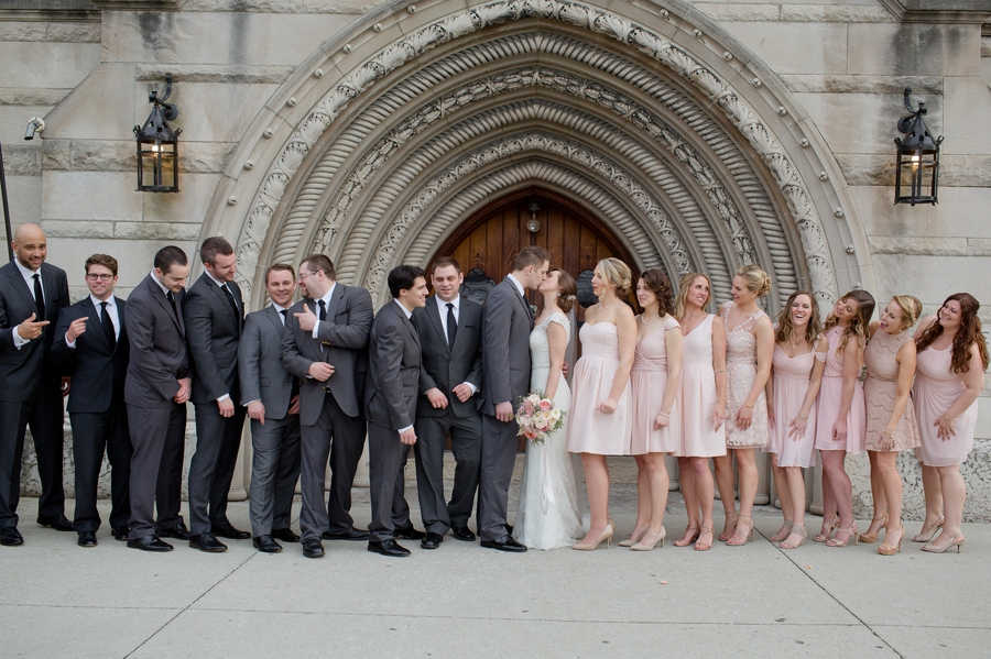 candid wedding party photo outside of the bluestone columbus