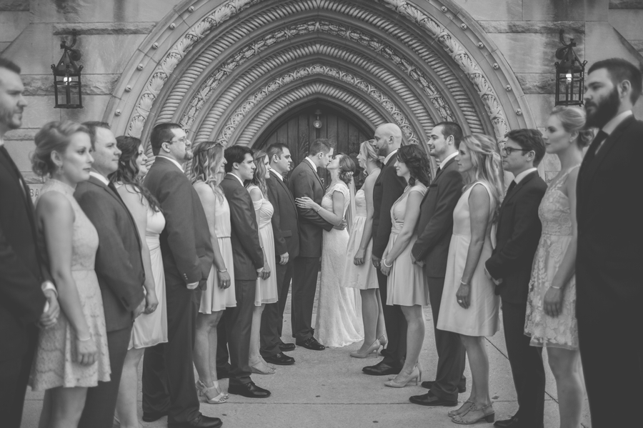 black and white photo of wedding party at the bluestone columbus ohio
