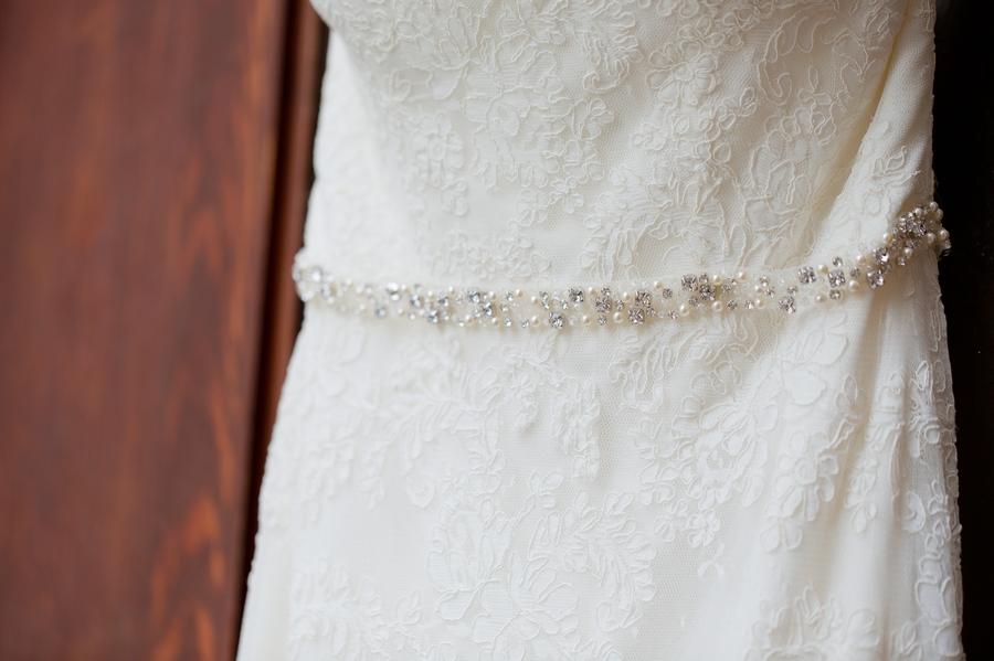 details of wedding gown at the bluestone