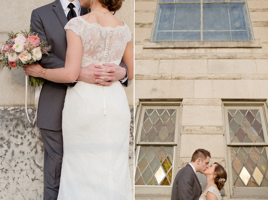 bride and groom kissing at the side of the building of the bluestone