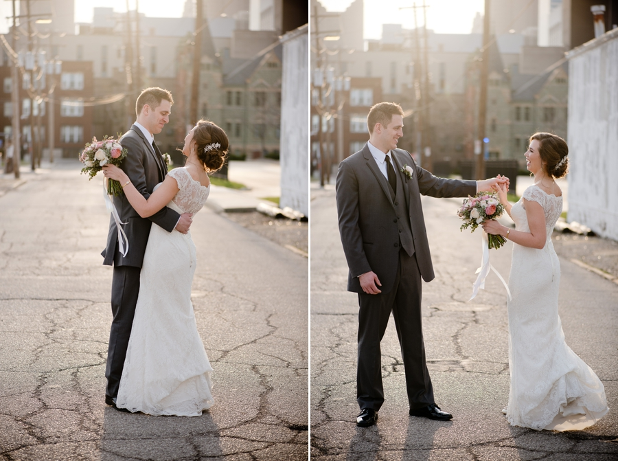 bride and groom dancing in the alley of the bluestone