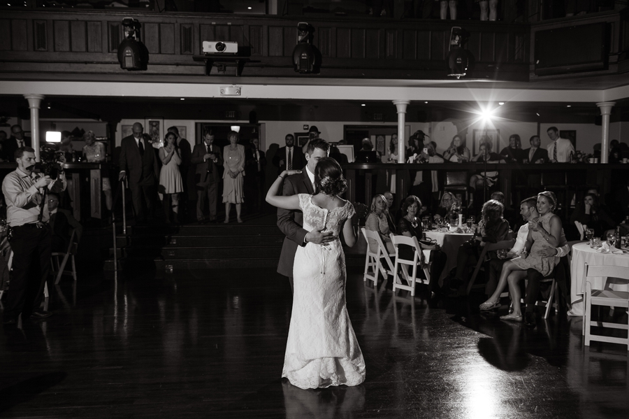 wide photo of bride and groom first dance at the bluestone columbus