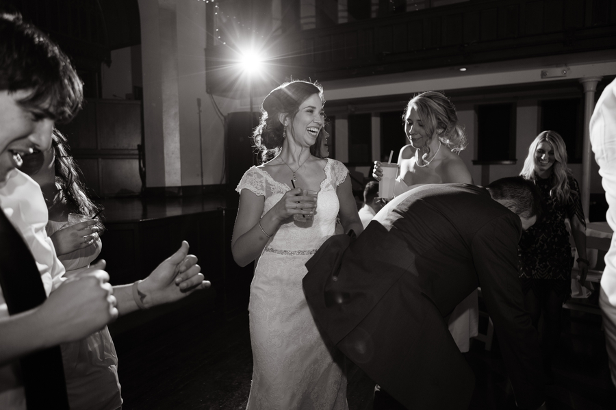 black and white photo of the bride dancing at the bluestone columbus