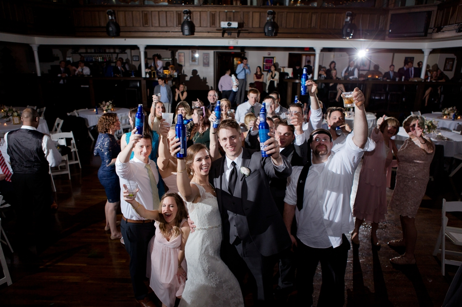 large group photo of wedding guests at the bluestone