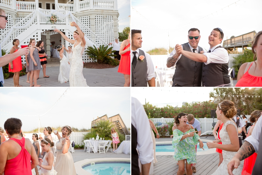 reception photos of guests dancing at beach house