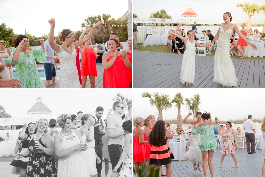 dancing photos of guests at beach wedding
