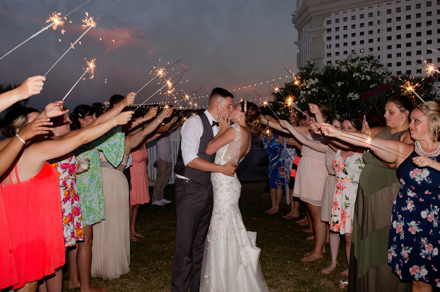 sparkler photo at ocean isle beach wedding