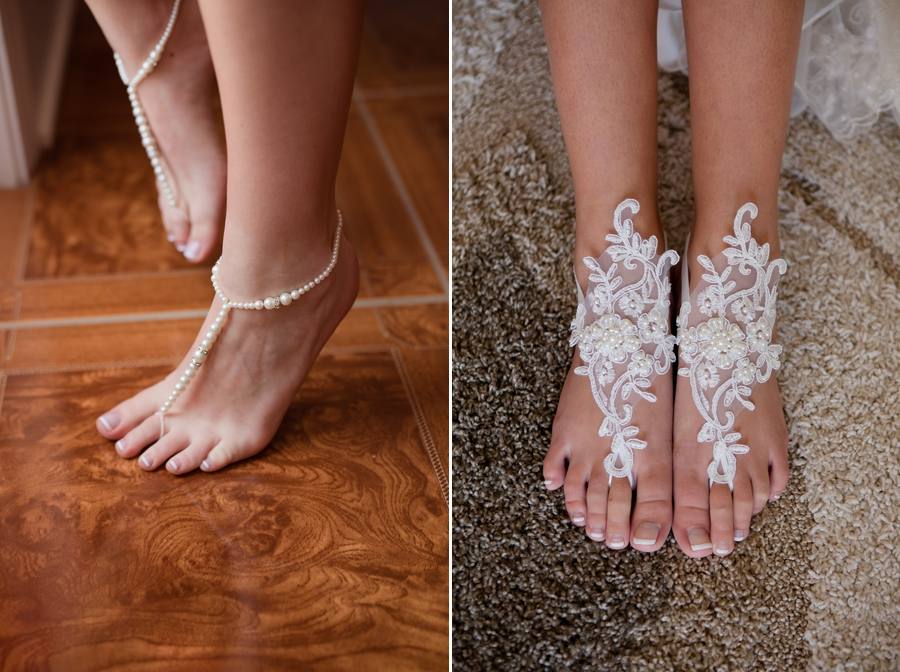pearl and lace barefoot sandals