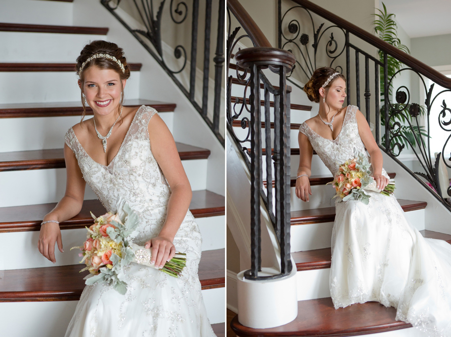 bride sitting on staircase at ocean isle beach wedding