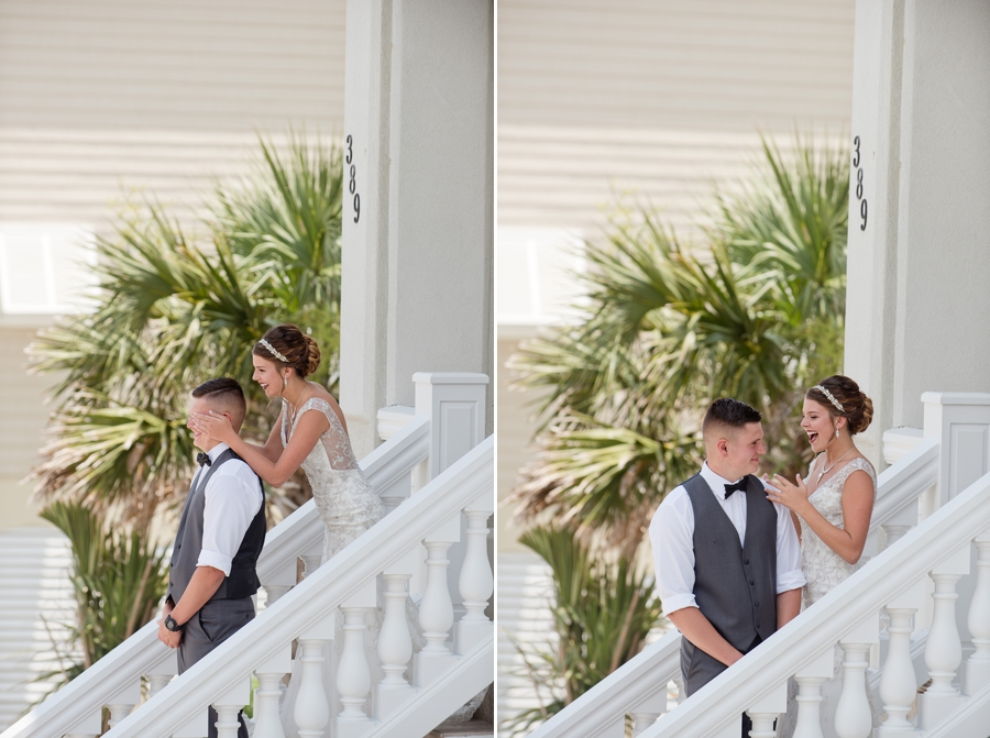 bride covering grooms eyes at first look in ocean isle