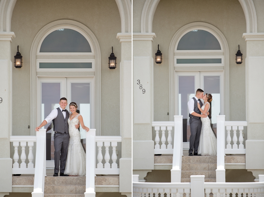 bride and groom in front of beach house in ocean isle north carolina