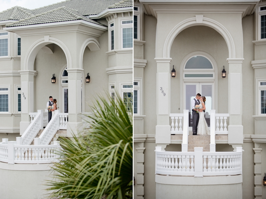 bride and groom out front of ocean isle beach house
