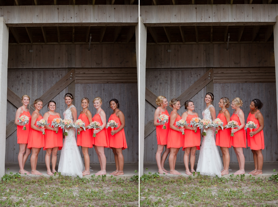bride with bridesmaids at ocean isle beach wedding