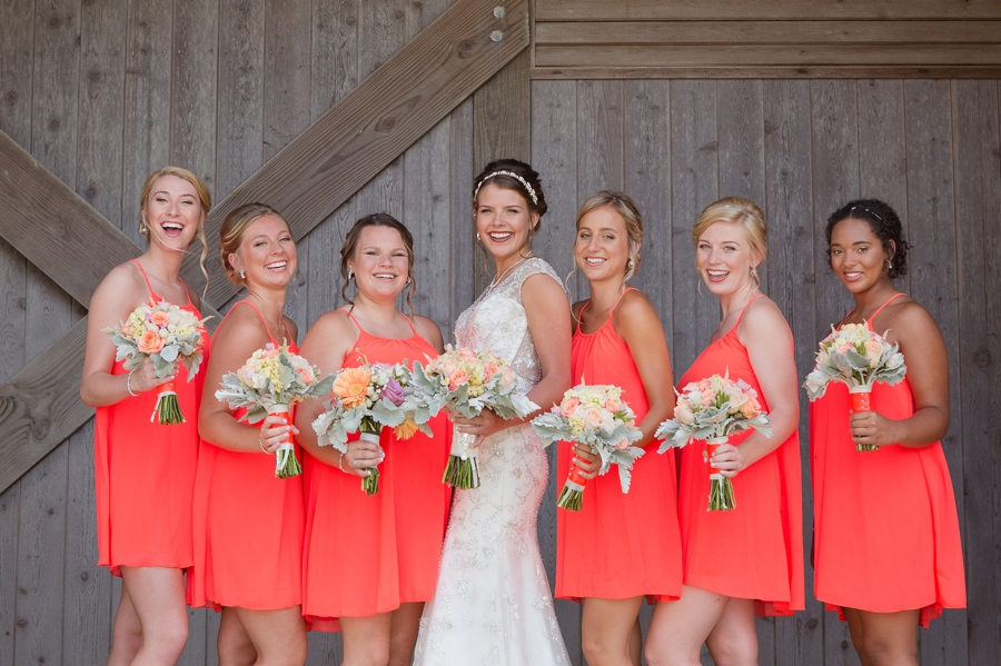 ocean isle beach wedding with bridesmaids