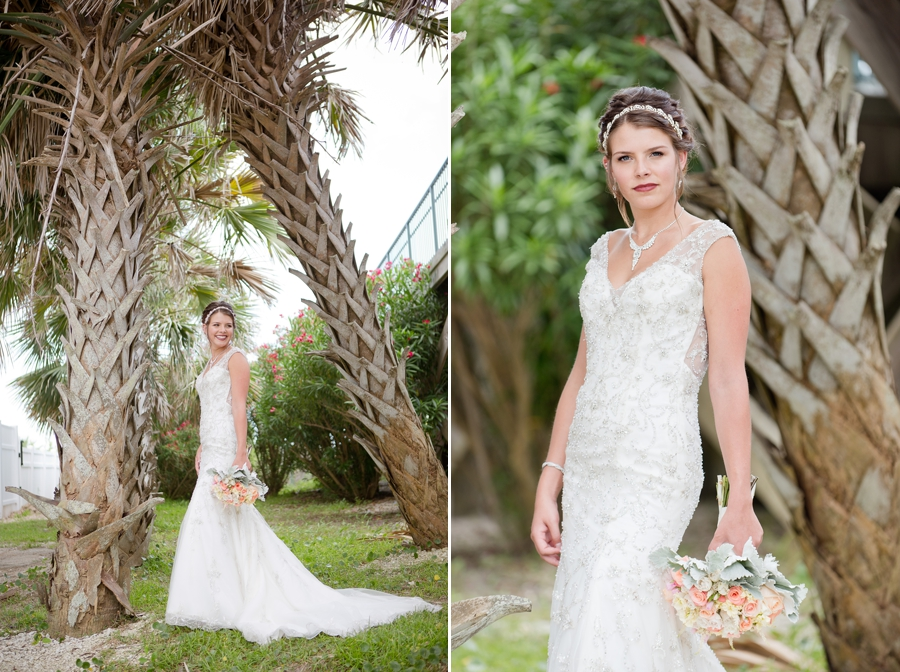 bride looking over shoulder with palm trees