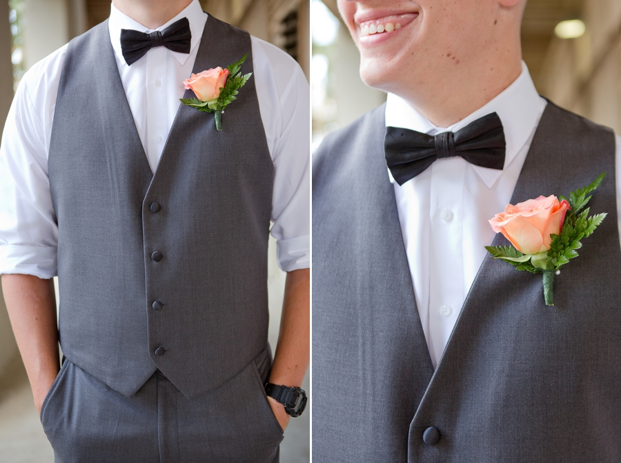 close up of grooms boutonniere