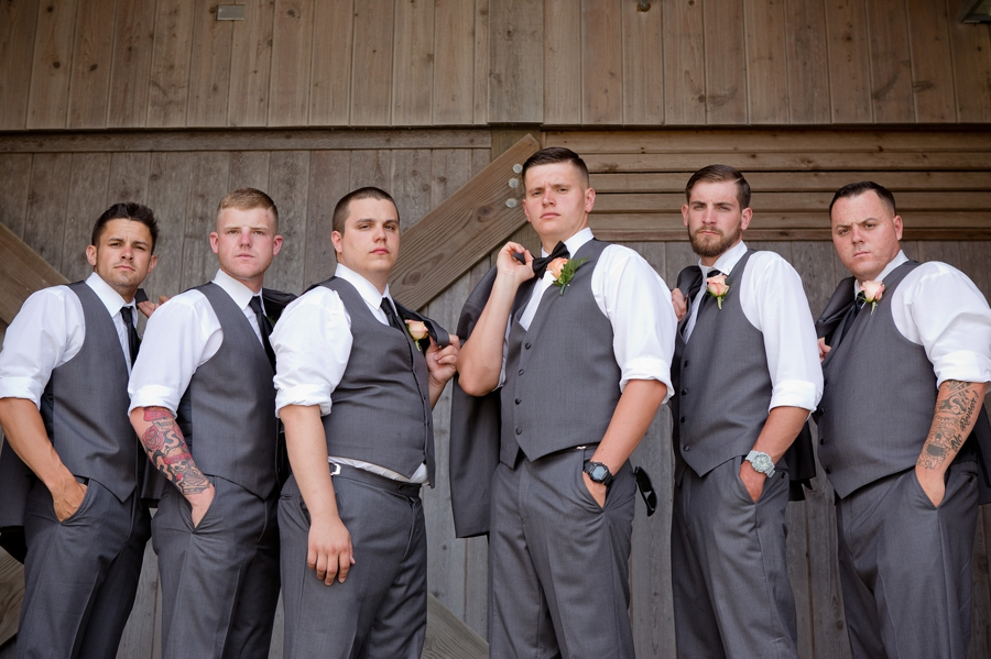 groom and groomsmen not smiling