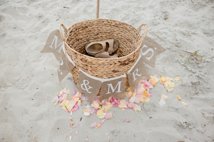 basket for shoes at beach wedding in ocean isle
