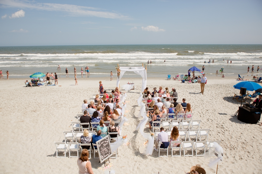 wide photo of beach wedding