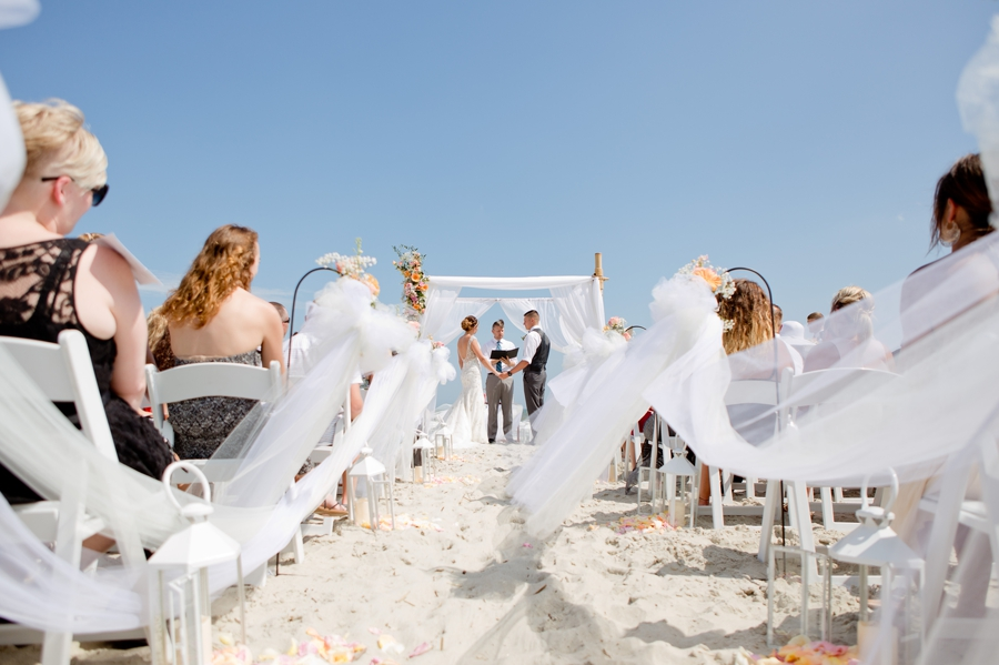 wide angle photo of beach wedding ceremony