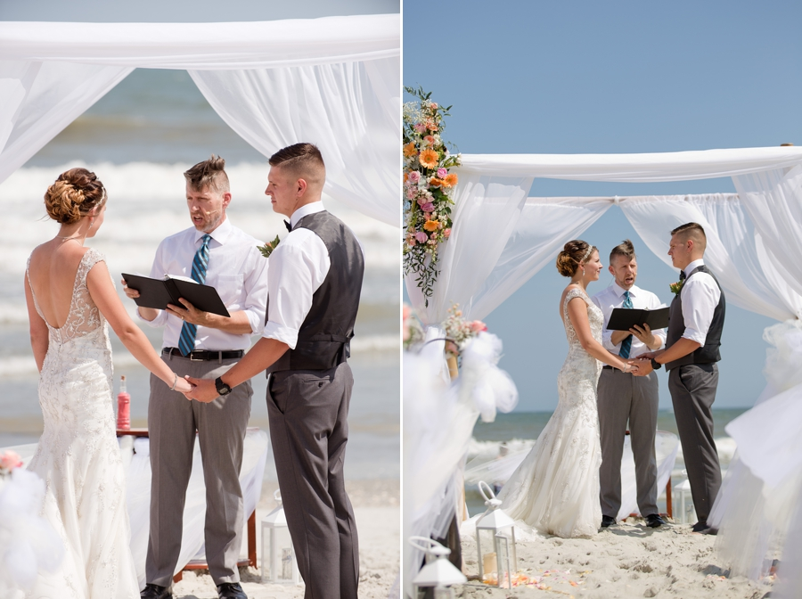 bride and groom exchanging vowels on ocean isle beach