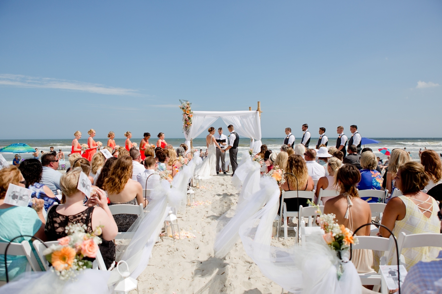 wide photo of ocean isle wedding on beach