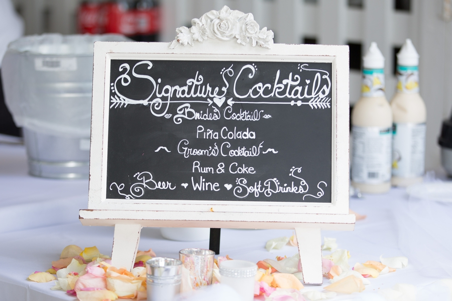signature cocktails sign for beach wedding
