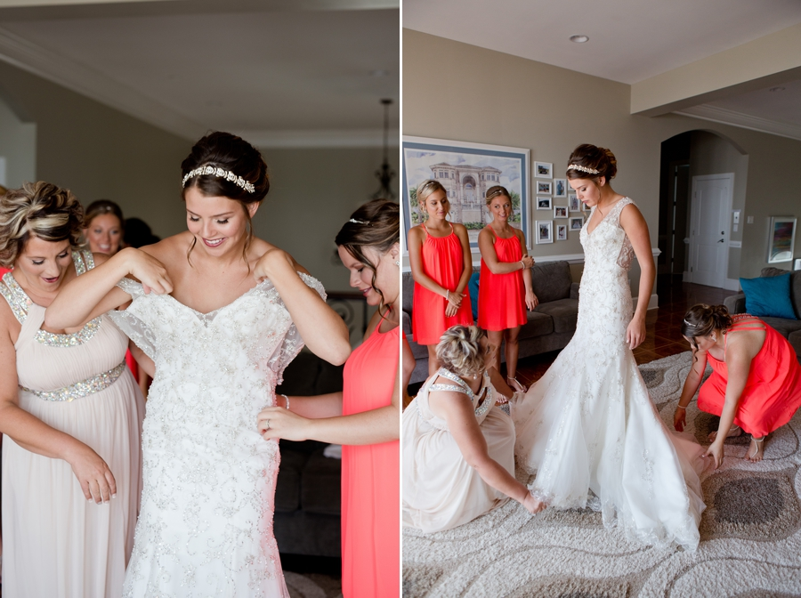 bride getting into wedding dress in ocean isle