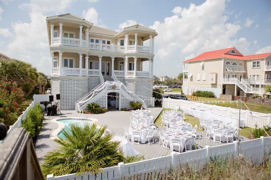 wide photo of reception at beach house in ocean isle