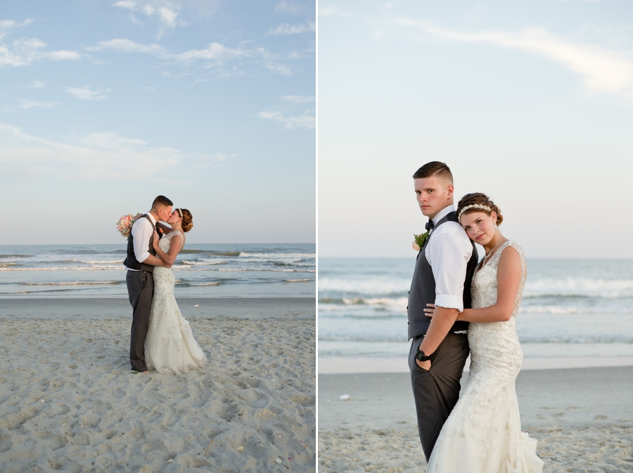 bride and groom kissing on ocean isle beach