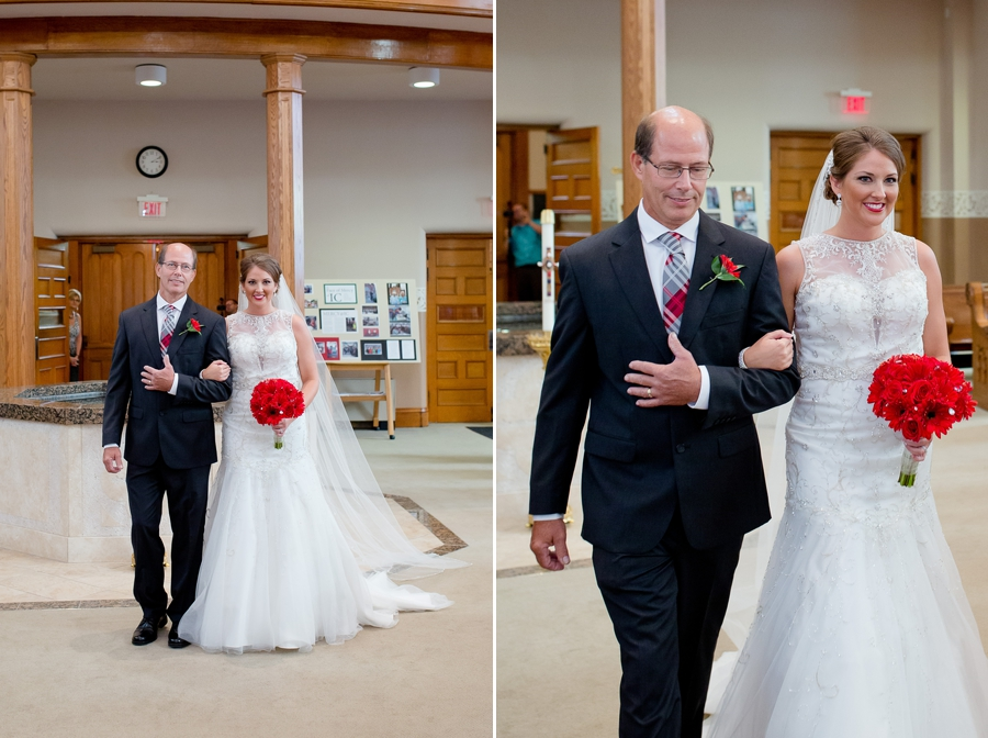bride and father walking down immaculate conception parish ceremony in celina ohio