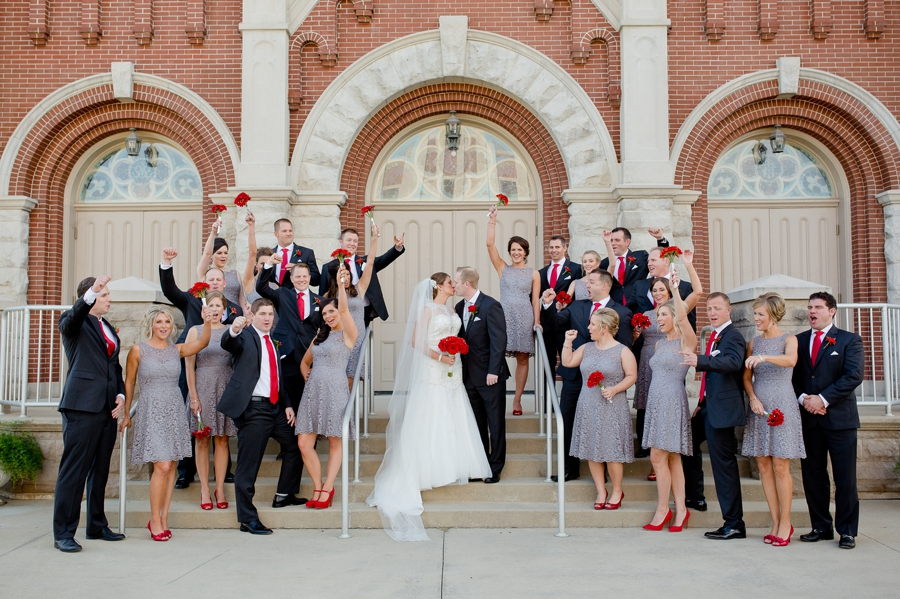 wedding party cheering on couple at Grand Lakes Galleria Conference center