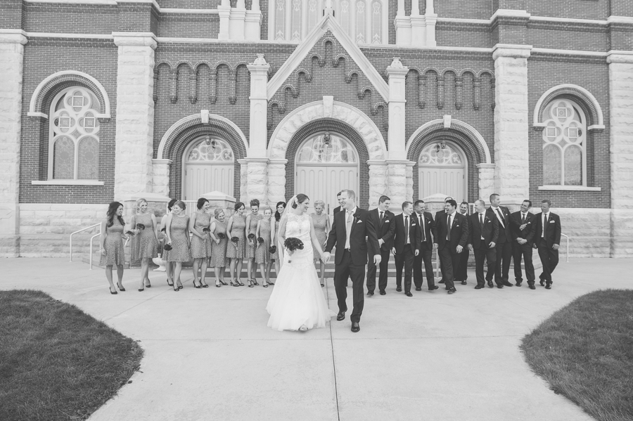 black and white photo of wedding party at the galleria in celina ohio