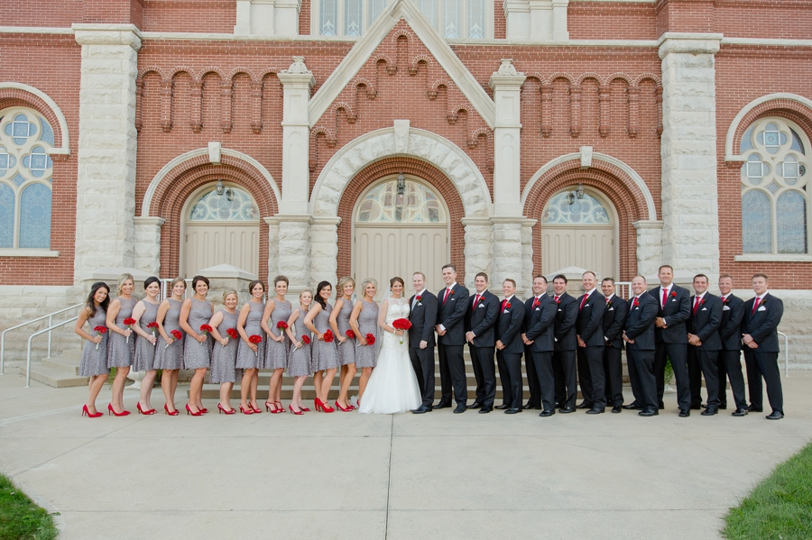 wide photo of wedding party at the galleria conference center