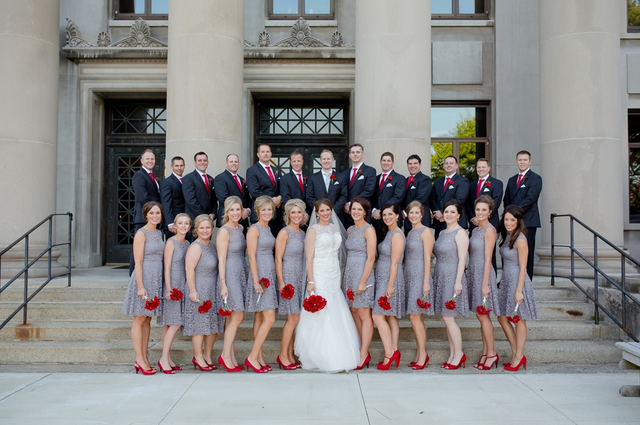 wedding party on stairs at Grand Lake Galleria Conference Center