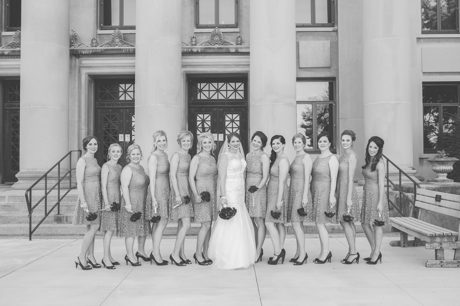 black and wite photo of bridesmaids at the grand lake galleria
