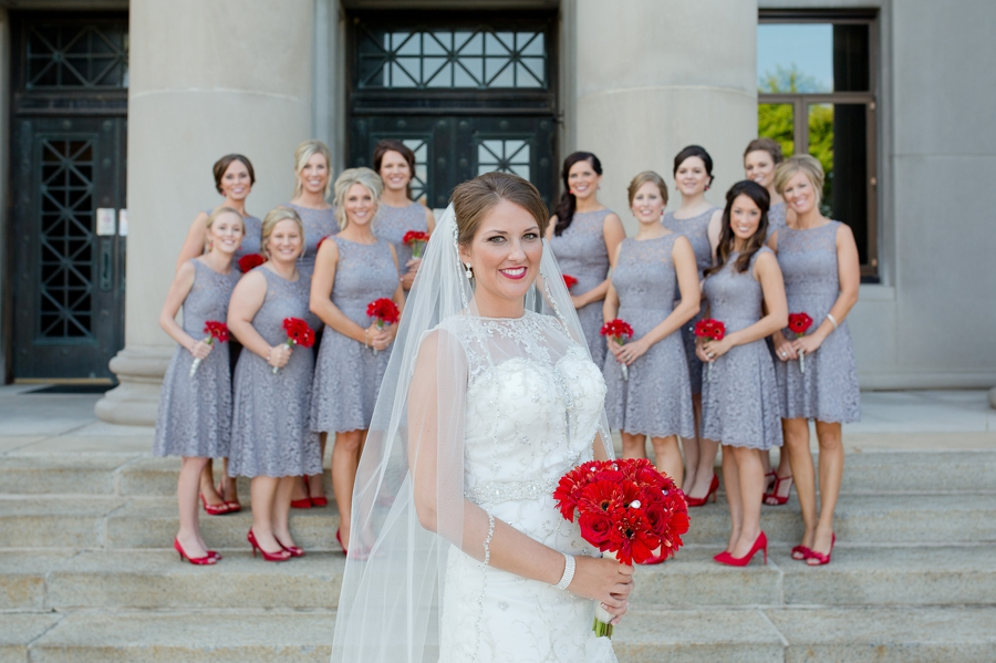 bride with bridesmaids in background at the galleria