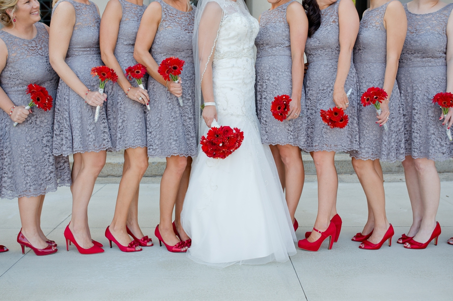 red bouquets and red shoes at grand lake galleria
