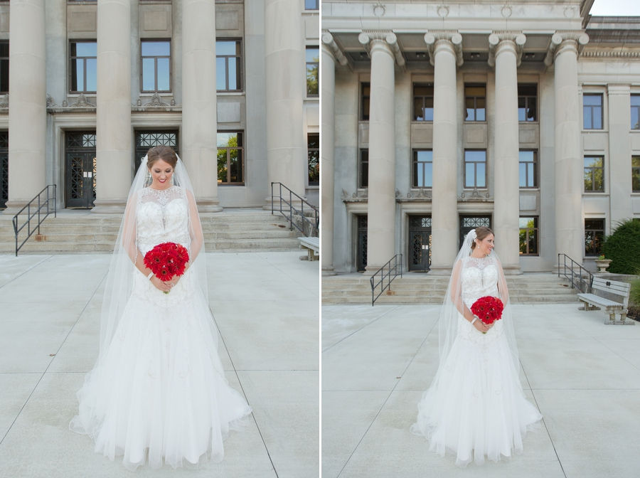 bride looking at bouquet near the galleria in celina ohio