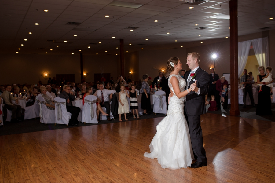 bride and groom first dance at the galleria in celina ohio