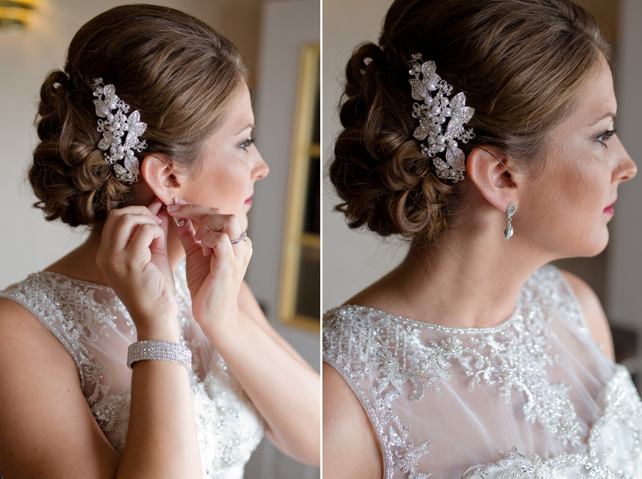bride putting on earring at the galleria conference center