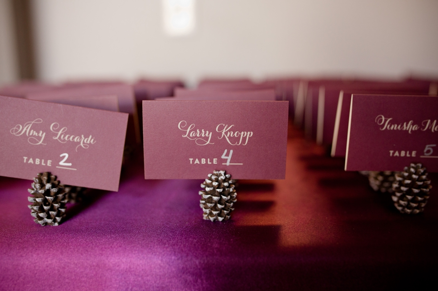 place cards and holders at Noah's event venue