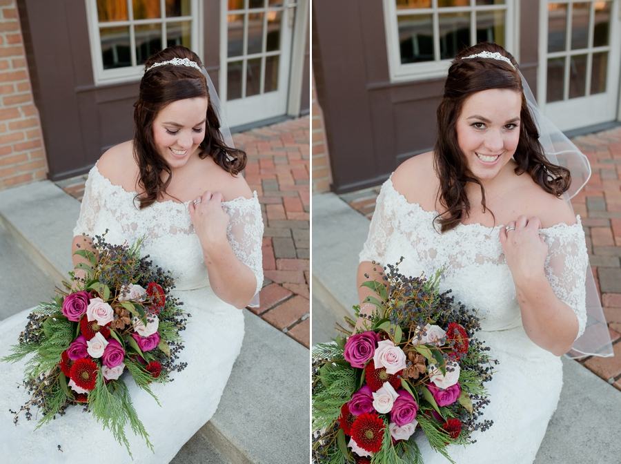 bride sitting on step outside of Noah's Event Venue