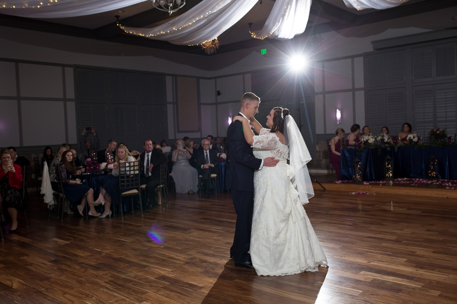 wide photo of first dance at Noah's Event Venue wedding