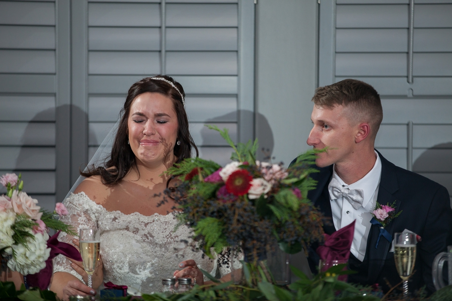 bride crying during father of bride speech