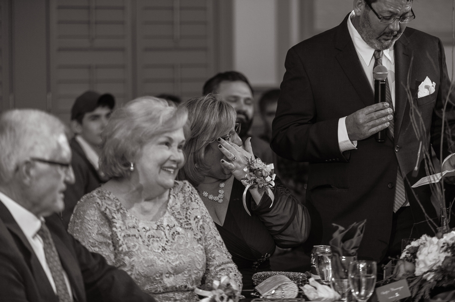 mother of bride crying during speech