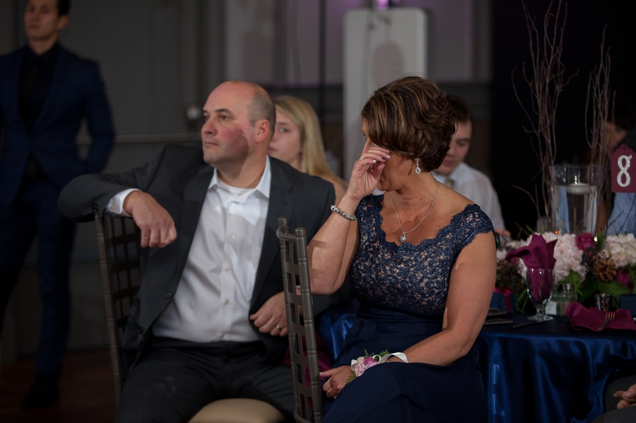 mother of groom crying during speech